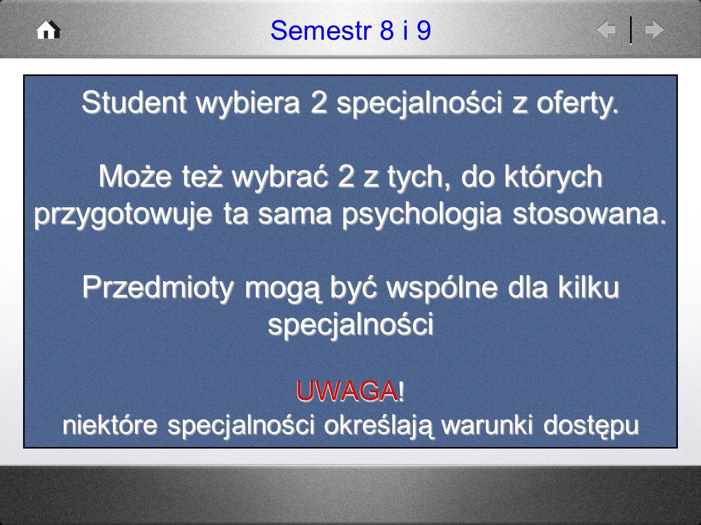 Student wybiera 2 specjalności z oferty.