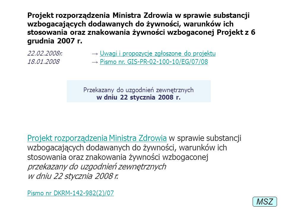 Przekazany do uzgodnień zewnętrznych w dniu 22 stycznia 2008 r.