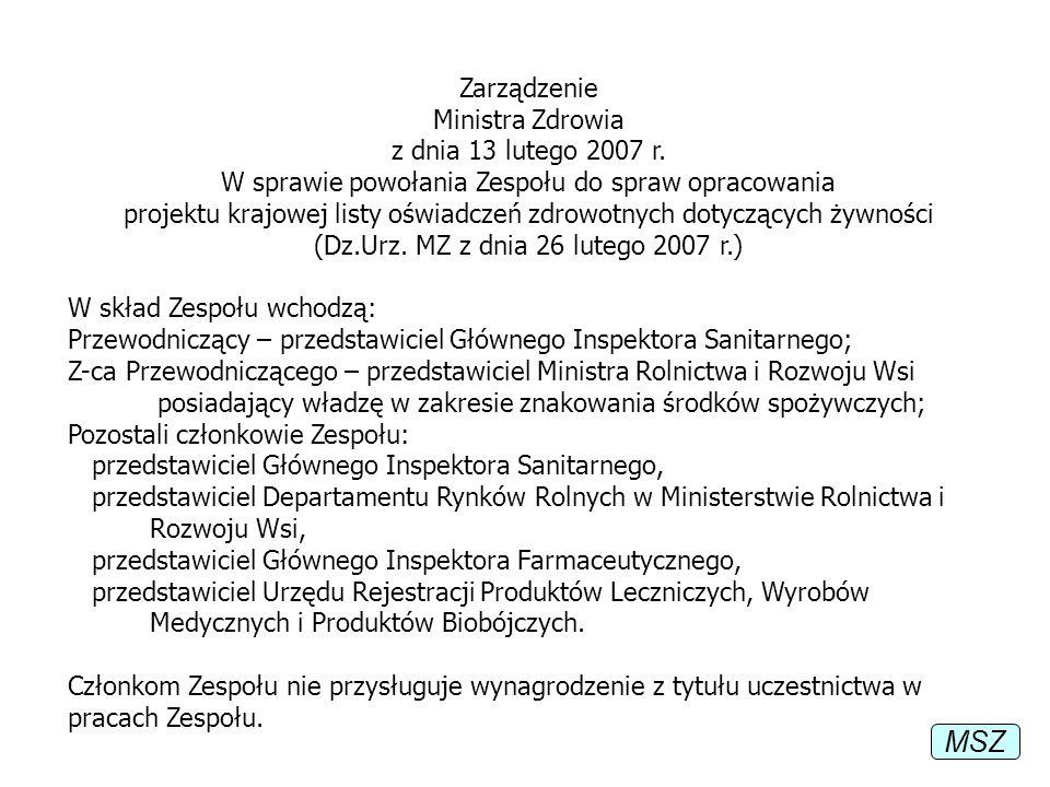 MSZ Zarządzenie Ministra Zdrowia z dnia 13 lutego 2007 r.