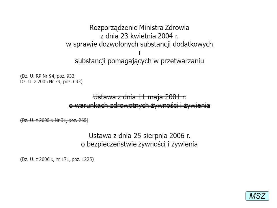 Rozporządzenie Ministra Zdrowia z dnia 23 kwietnia 2004 r