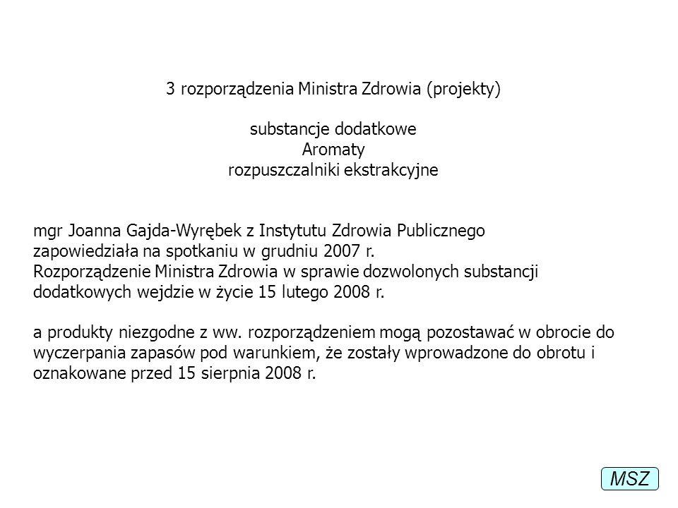 MSZ 3 rozporządzenia Ministra Zdrowia (projekty) substancje dodatkowe