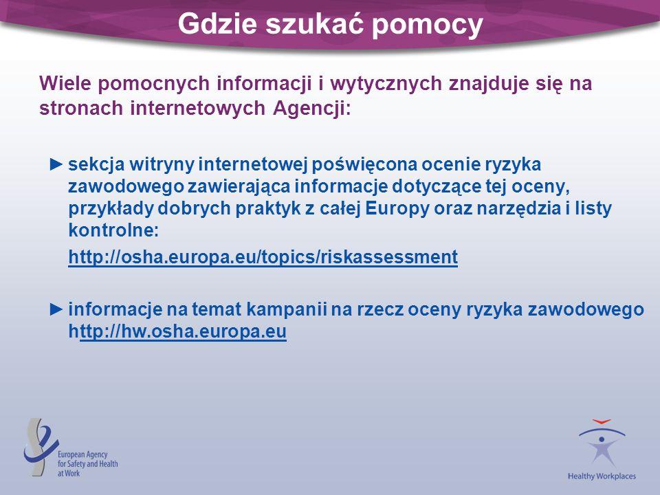 Gdzie szukać pomocy Wiele pomocnych informacji i wytycznych znajduje się na stronach internetowych Agencji: