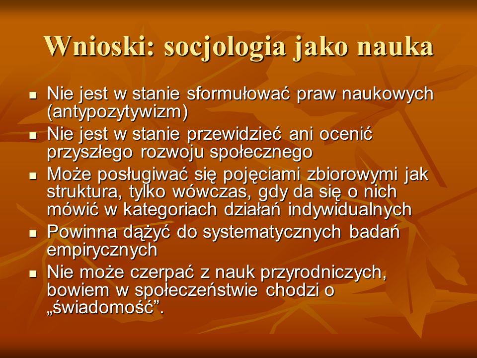 Wnioski: socjologia jako nauka