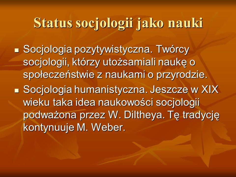 Status socjologii jako nauki