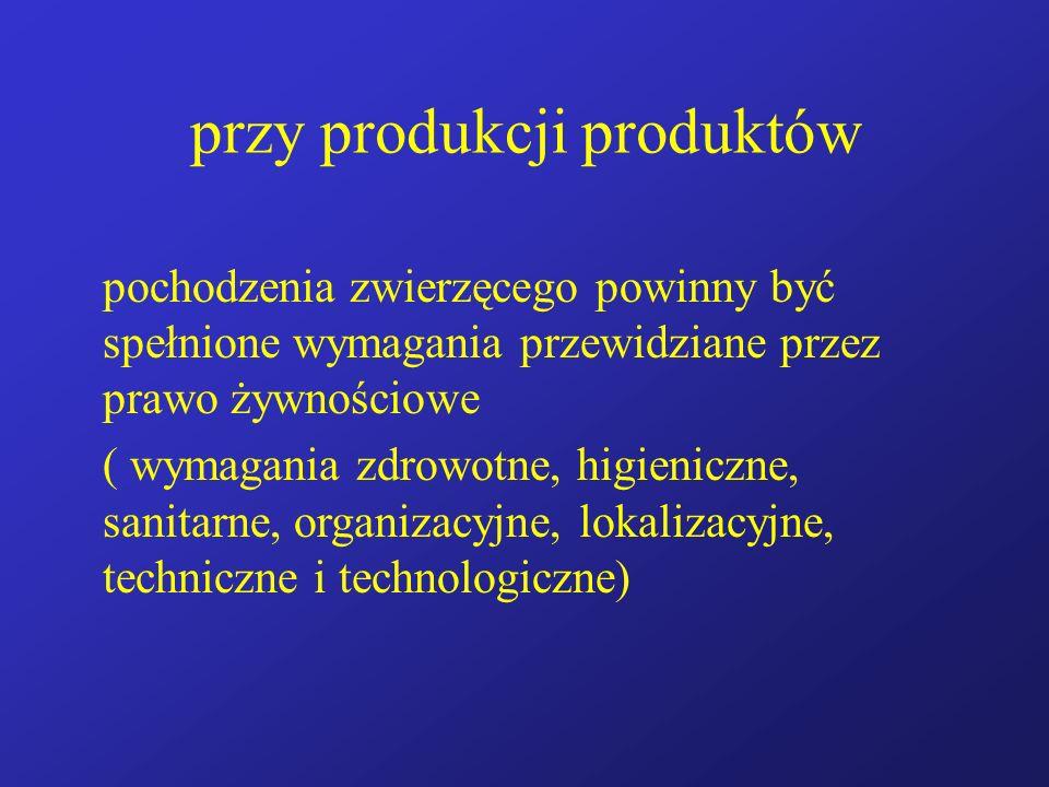 przy produkcji produktów