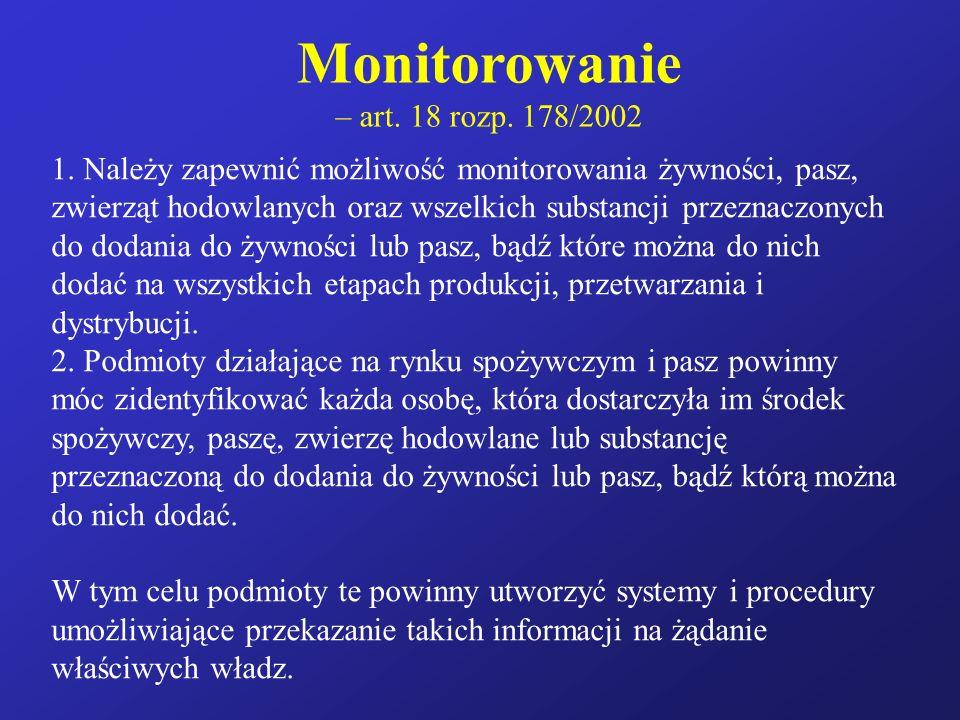 Monitorowanie – art. 18 rozp. 178/2002