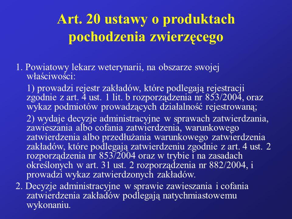Art. 20 ustawy o produktach pochodzenia zwierzęcego