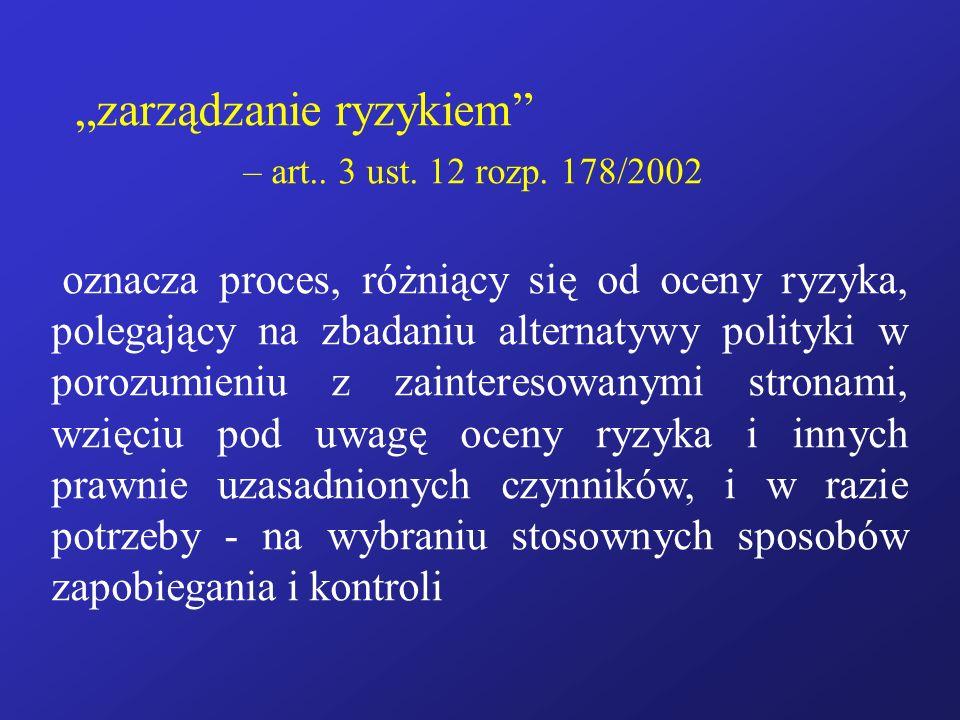 """""""zarządzanie ryzykiem – art.. 3 ust. 12 rozp. 178/2002"""