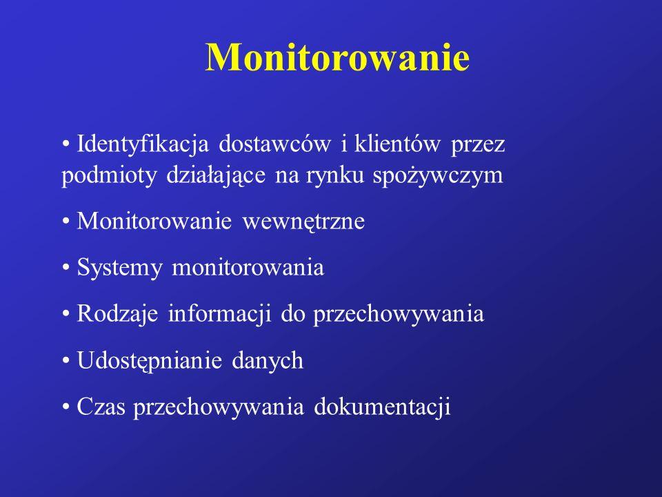 Monitorowanie Identyfikacja dostawców i klientów przez podmioty działające na rynku spożywczym. Monitorowanie wewnętrzne.