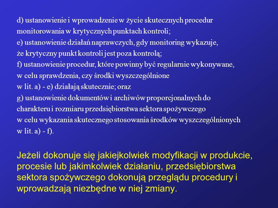 d) ustanowienie i wprowadzenie w życie skutecznych procedur