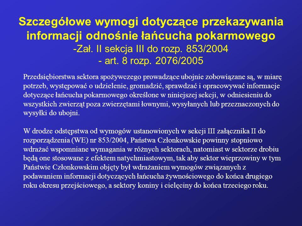 Zał. II sekcja III do rozp. 853/2004