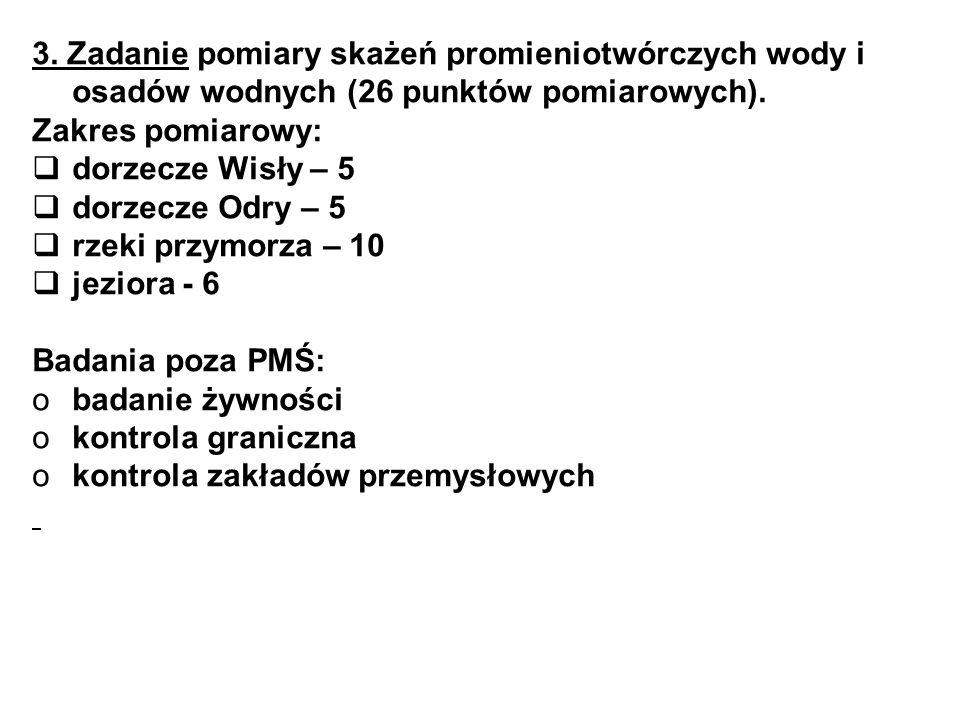 3. Zadanie pomiary skażeń promieniotwórczych wody i osadów wodnych (26 punktów pomiarowych).