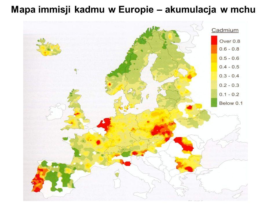 Mapa immisji kadmu w Europie – akumulacja w mchu