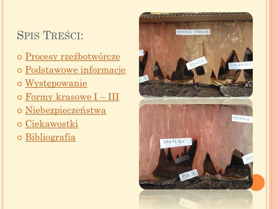 Spis Treści: Procesy rzeźbotwórcze Podstawowe informacje Występowanie
