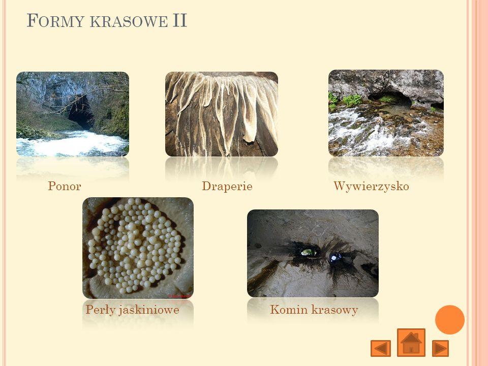 Formy krasowe II Ponor Draperie Wywierzysko Perły jaskiniowe
