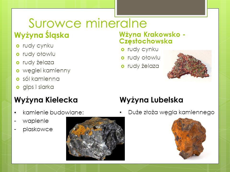 Surowce mineralne Wyżyna Śląska Wyżyna Kielecka Wyżyna Lubelska