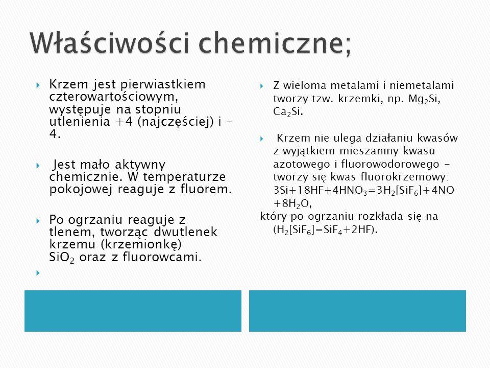 Właściwości chemiczne;