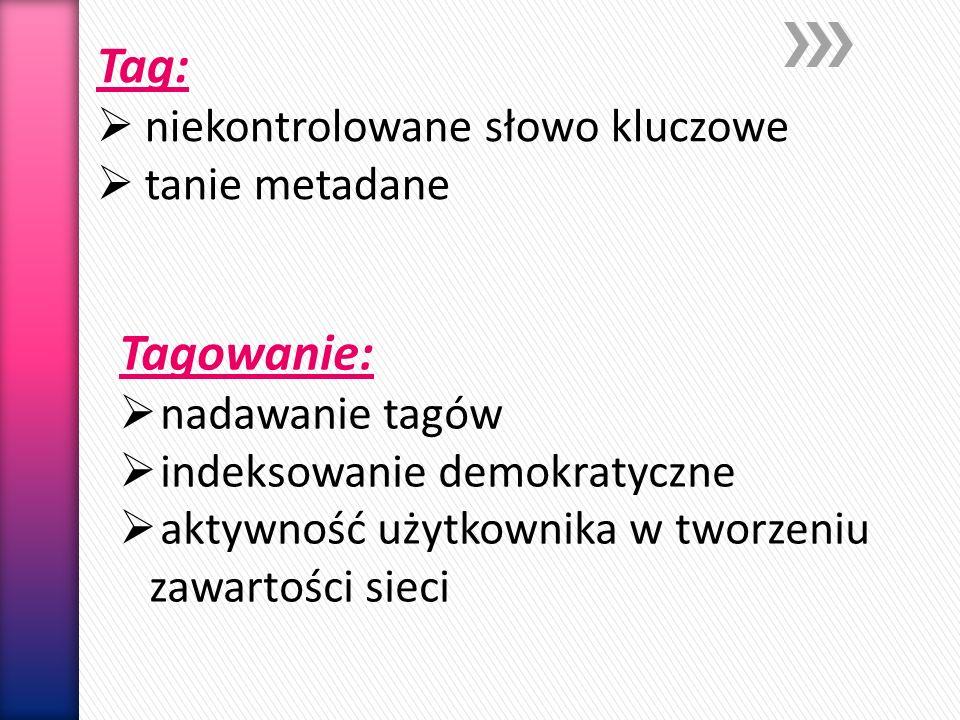 Tag: Tagowanie: niekontrolowane słowo kluczowe tanie metadane