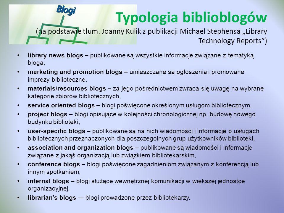 Typologia biblioblogów (na podstawie tłum
