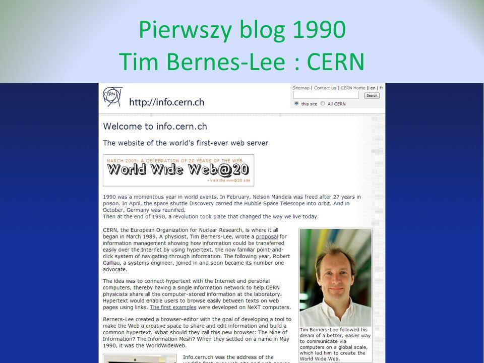 Pierwszy blog 1990 Tim Bernes-Lee : CERN