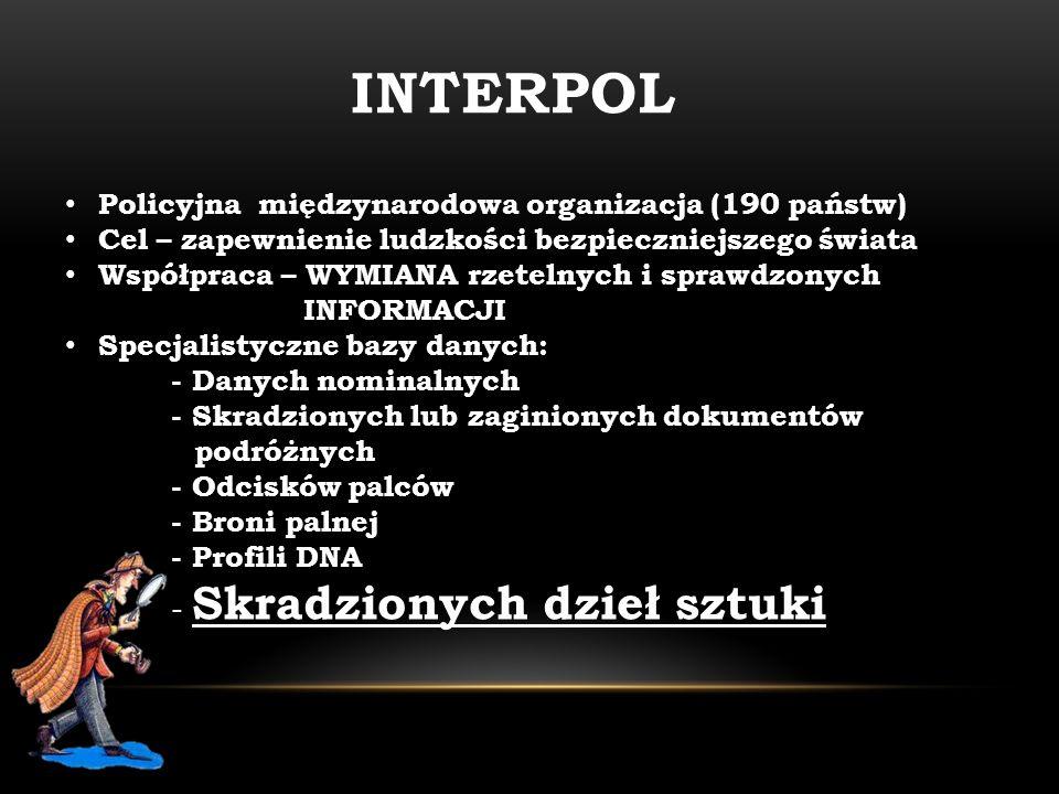 INTERPOL Policyjna międzynarodowa organizacja (190 państw)