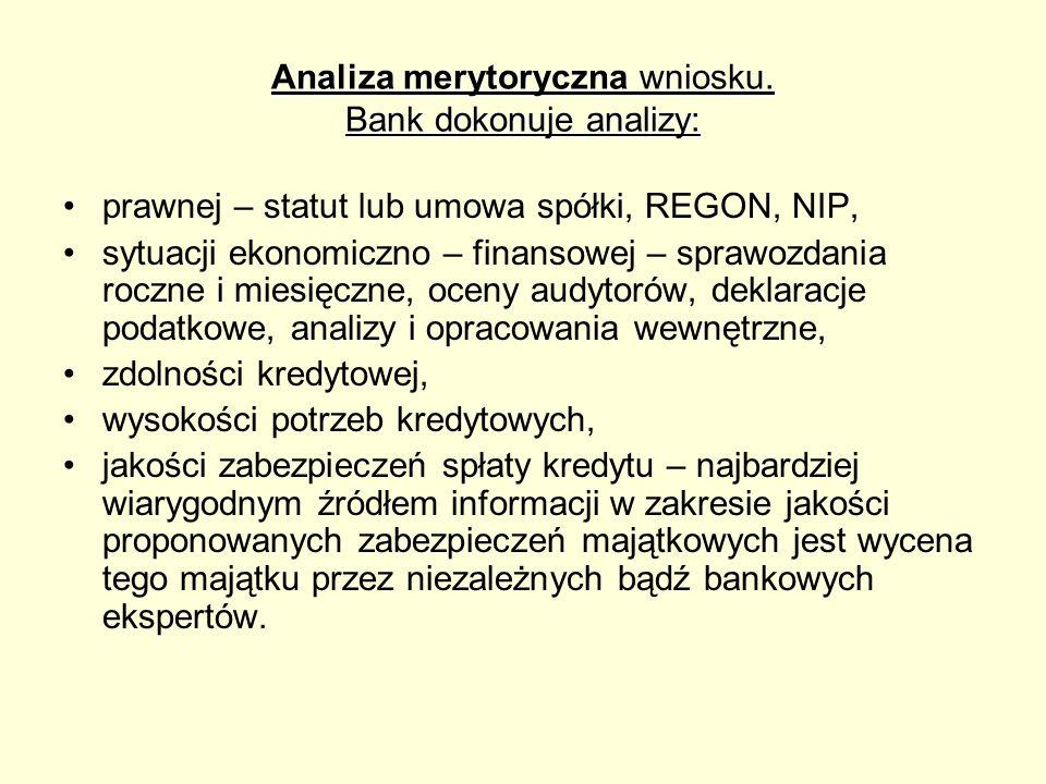 Analiza merytoryczna wniosku. Bank dokonuje analizy: