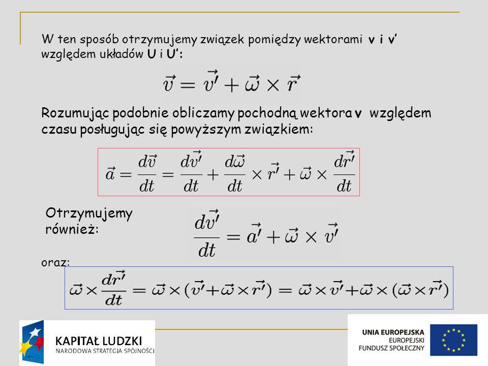 W ten sposób otrzymujemy związek pomiędzy wektorami v i v' względem układów U i U':