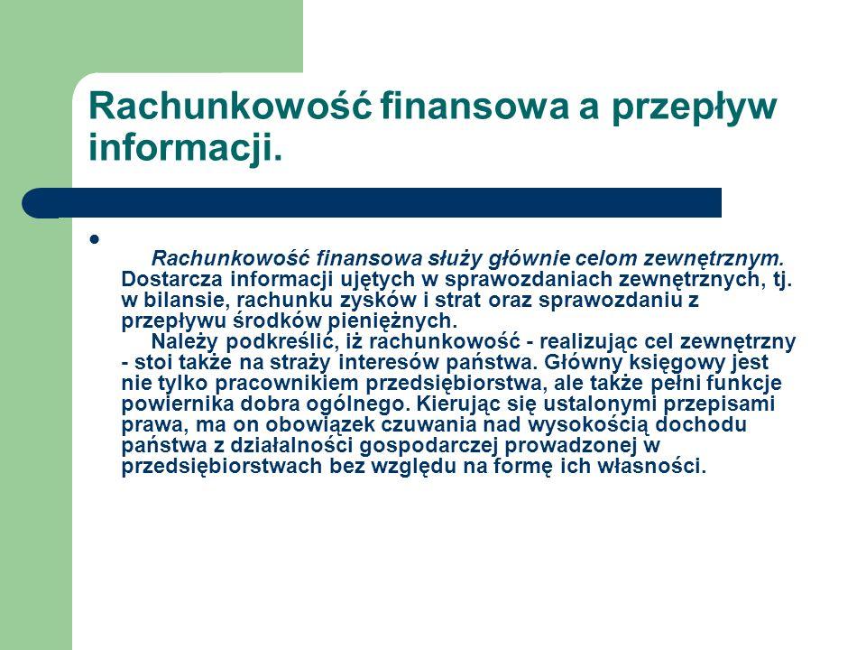 Rachunkowość finansowa a przepływ informacji.