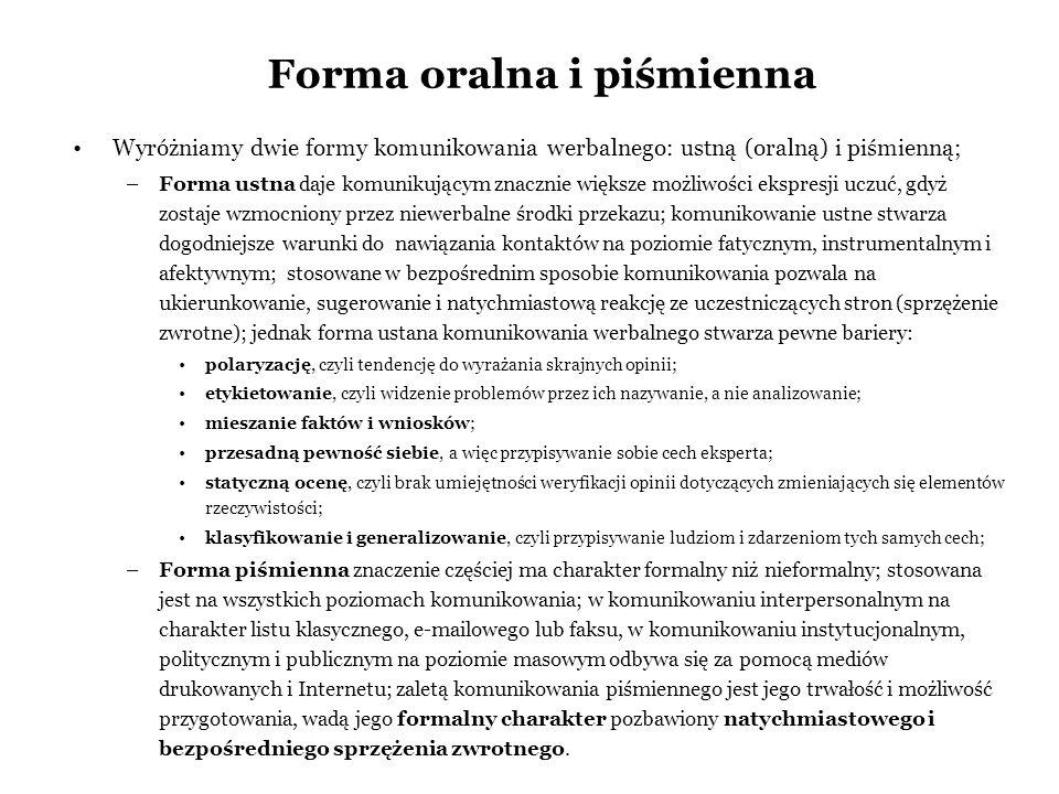 Forma oralna i piśmienna