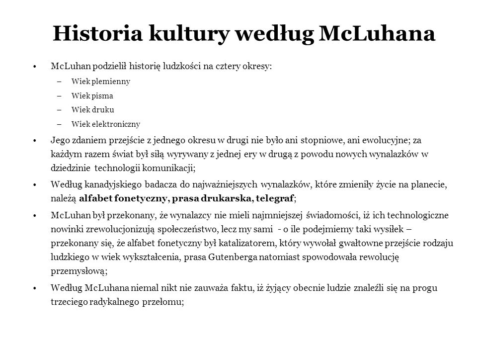 Historia kultury według McLuhana
