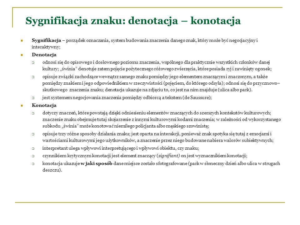 Sygnifikacja znaku: denotacja – konotacja