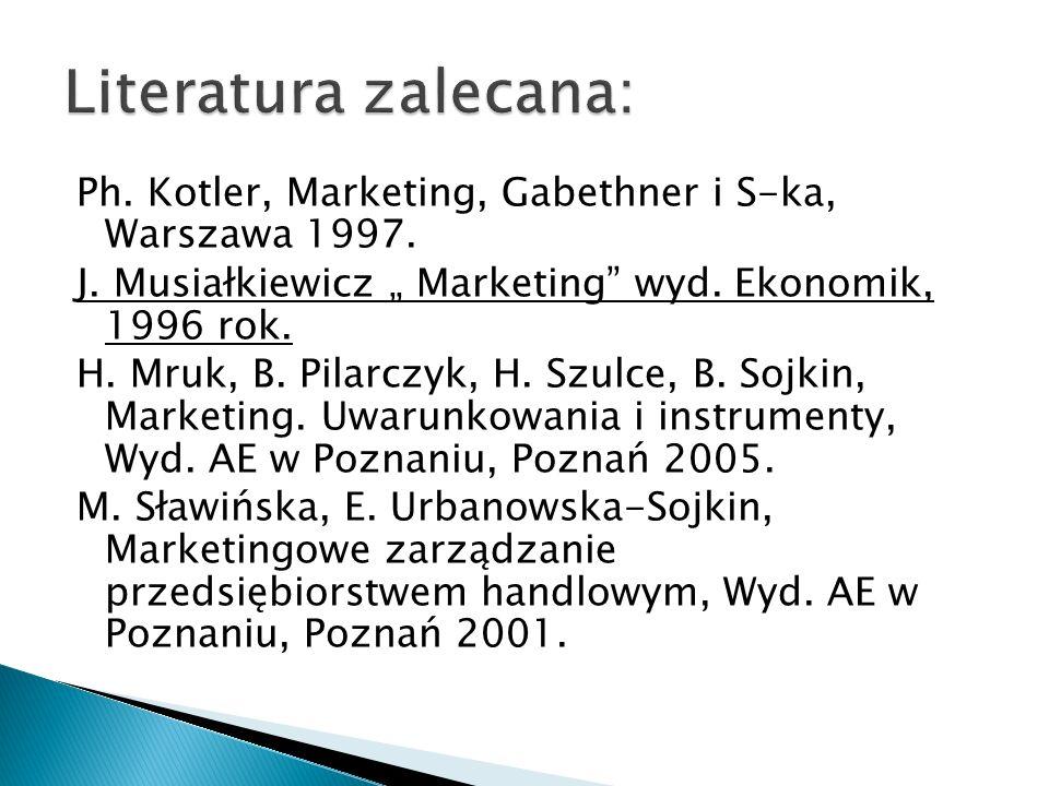 """Literatura zalecana: Ph. Kotler, Marketing, Gabethner i S-ka, Warszawa 1997. J. Musiałkiewicz """" Marketing wyd. Ekonomik, 1996 rok."""