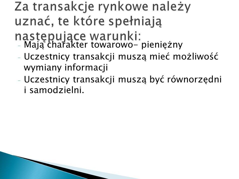 Za transakcje rynkowe należy uznać, te które spełniają następujące warunki: