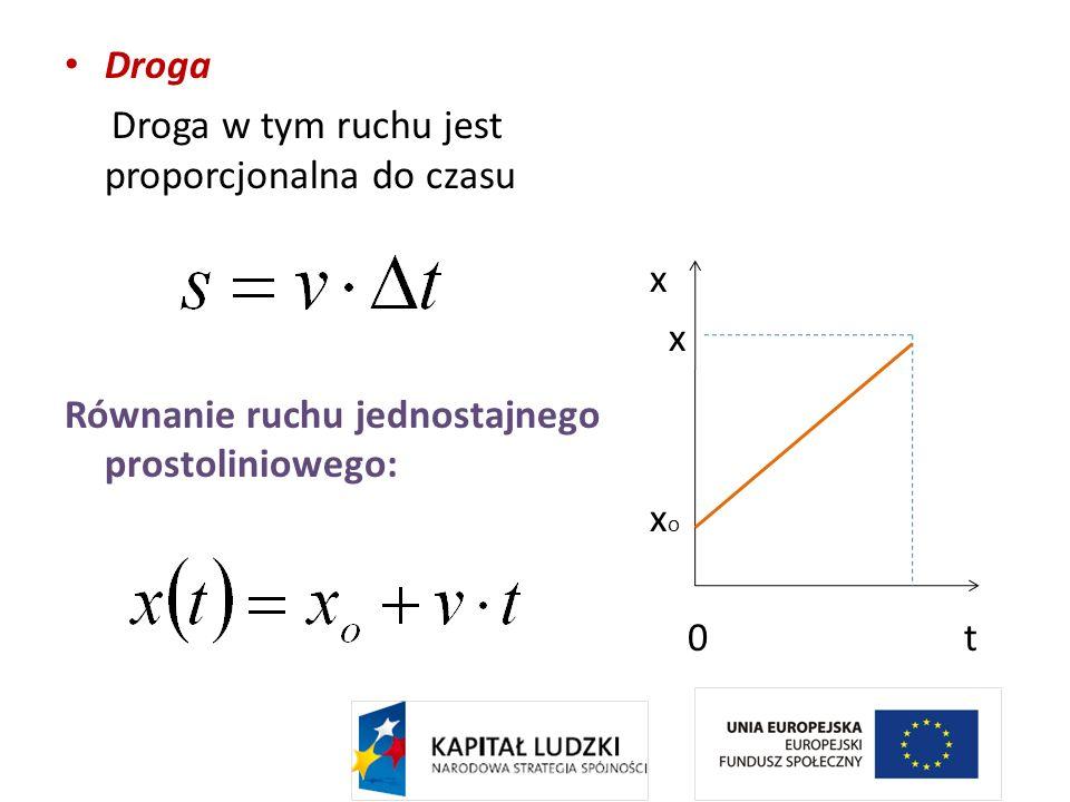 DrogaDroga w tym ruchu jest proporcjonalna do czasu. Równanie ruchu jednostajnego prostoliniowego: x.