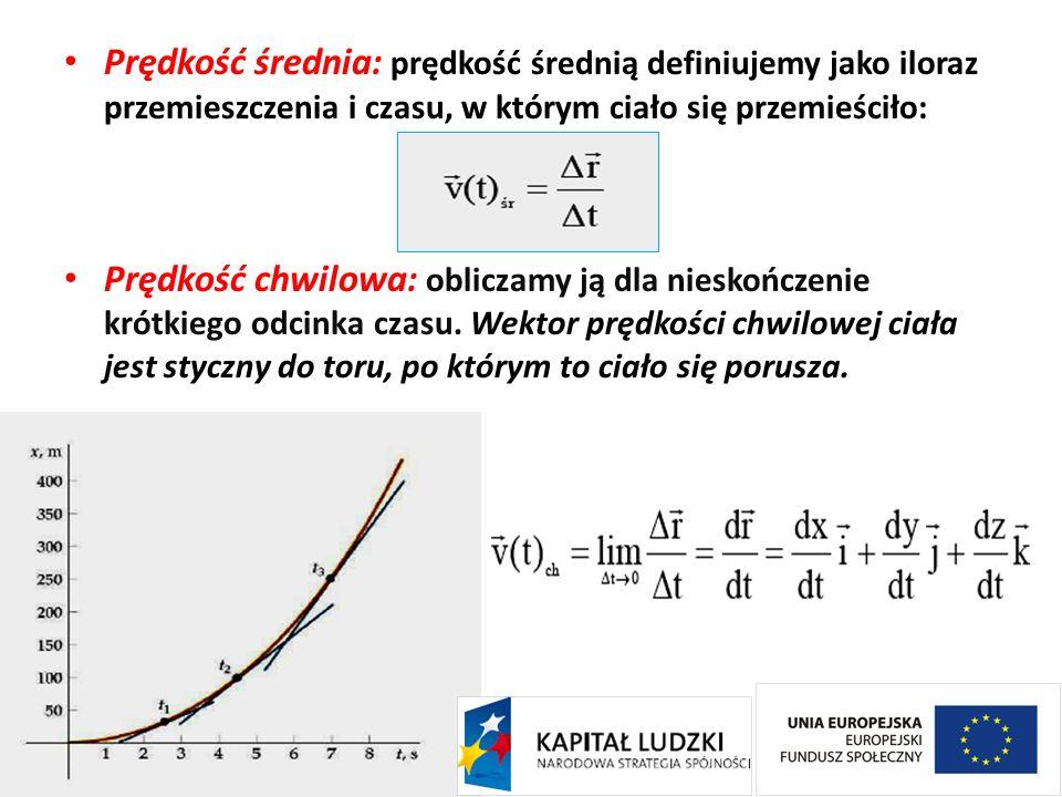 Prędkość średnia: prędkość średnią definiujemy jako iloraz przemieszczenia i czasu, w którym ciało się przemieściło: