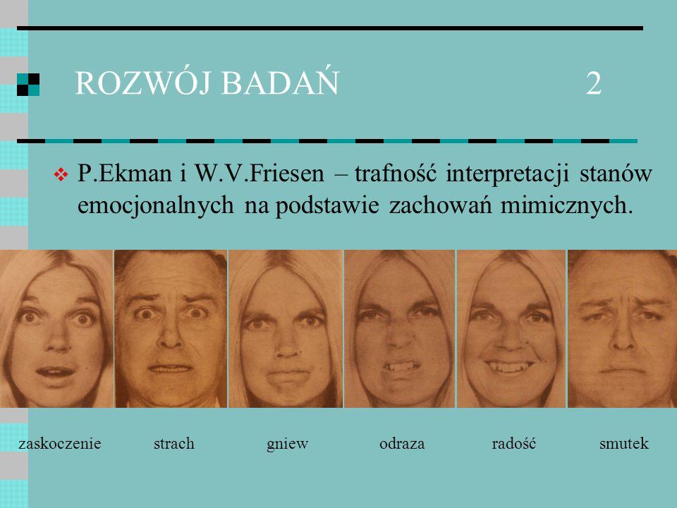 ROZWÓJ BADAŃ 2 P.Ekman i W.V.Friesen – trafność interpretacji stanów emocjonalnych na podstawie zachowań mimicznych.