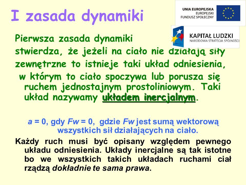 I zasada dynamiki Pierwsza zasada dynamiki