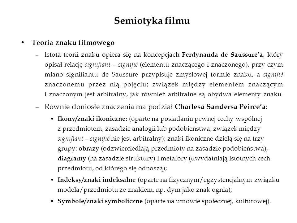 Semiotyka filmu Teoria znaku filmowego