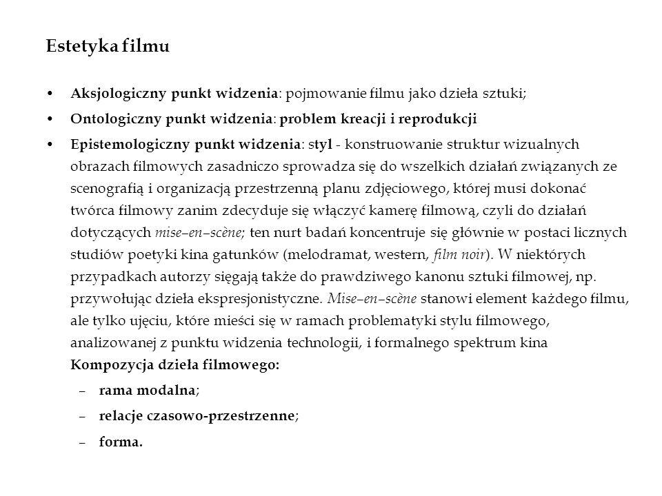 Estetyka filmu Aksjologiczny punkt widzenia: pojmowanie filmu jako dzieła sztuki; Ontologiczny punkt widzenia: problem kreacji i reprodukcji.