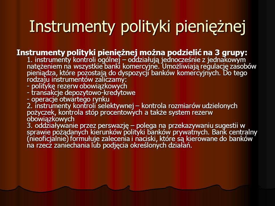 Instrumenty polityki pieniężnej