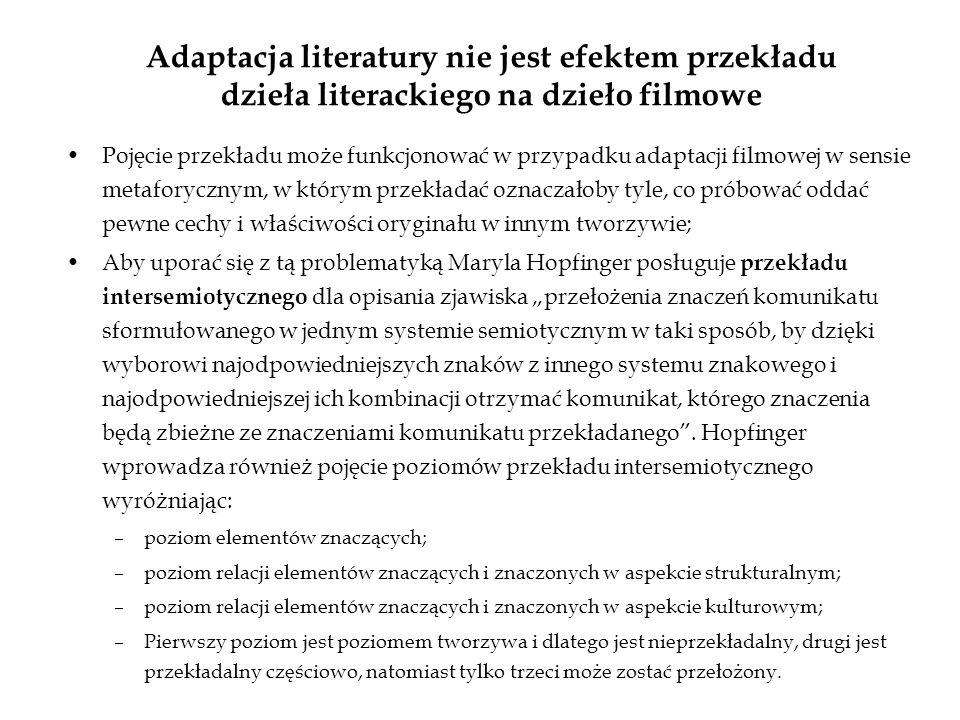 Adaptacja literatury nie jest efektem przekładu dzieła literackiego na dzieło filmowe