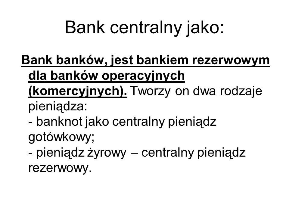 Bank centralny jako: