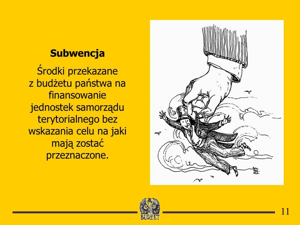 Subwencja Środki przekazane z budżetu państwa na finansowanie jednostek samorządu terytorialnego bez wskazania celu na jaki mają zostać przeznaczone.