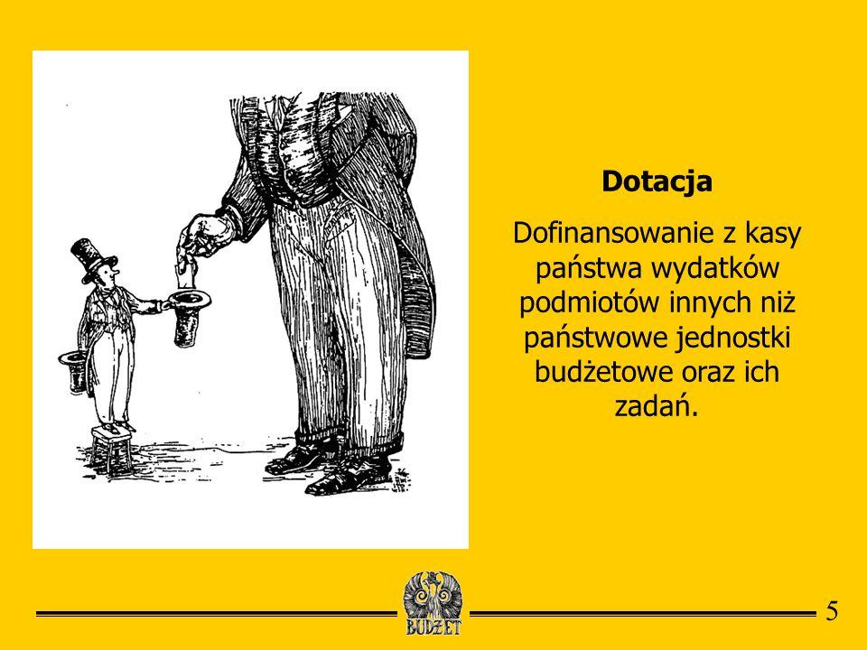 Dotacja Dofinansowanie z kasy państwa wydatków podmiotów innych niż państwowe jednostki budżetowe oraz ich zadań.