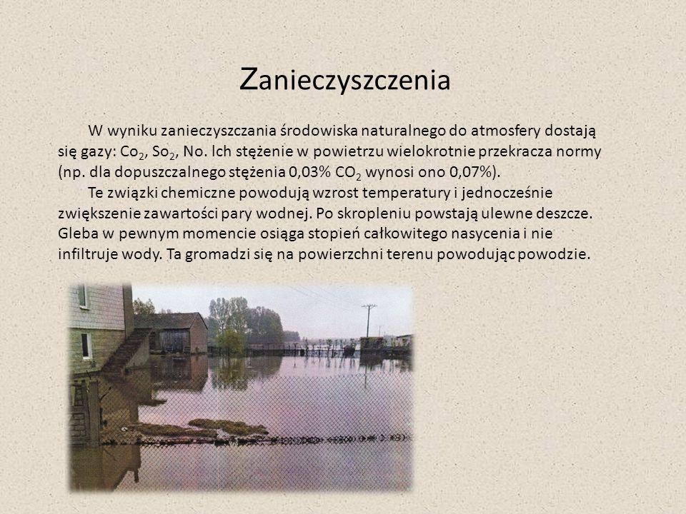 Zanieczyszczenia W wyniku zanieczyszczania środowiska naturalnego do atmosfery dostają.