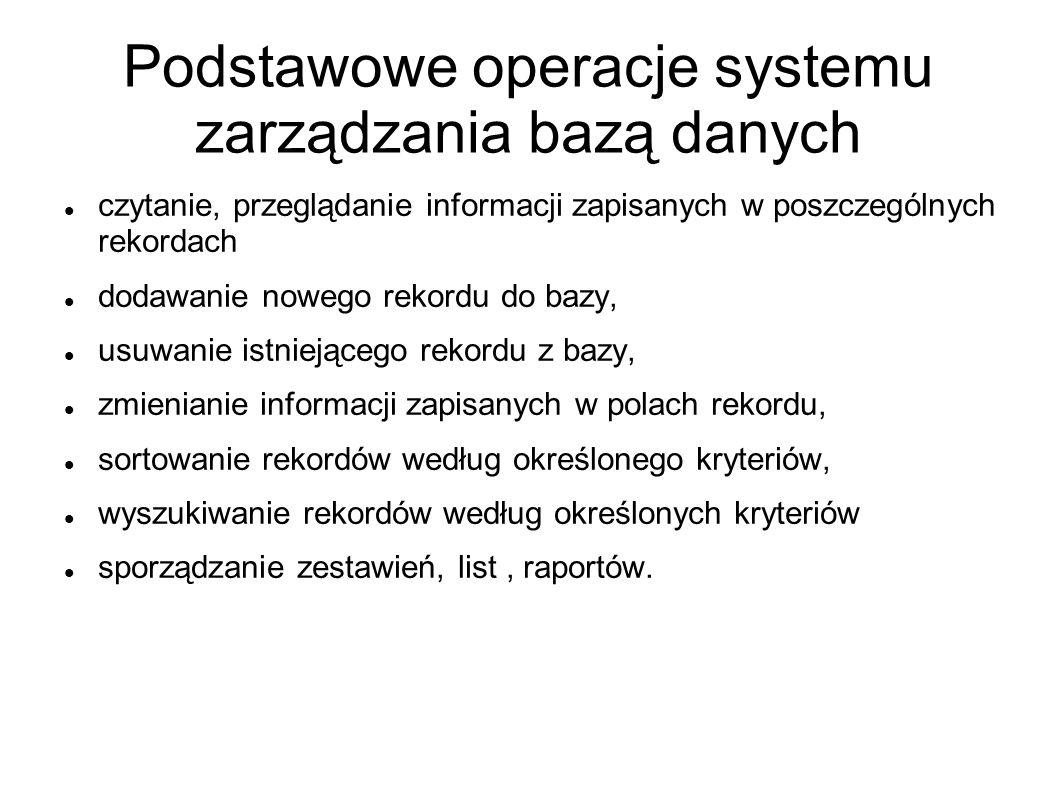Podstawowe operacje systemu zarządzania bazą danych