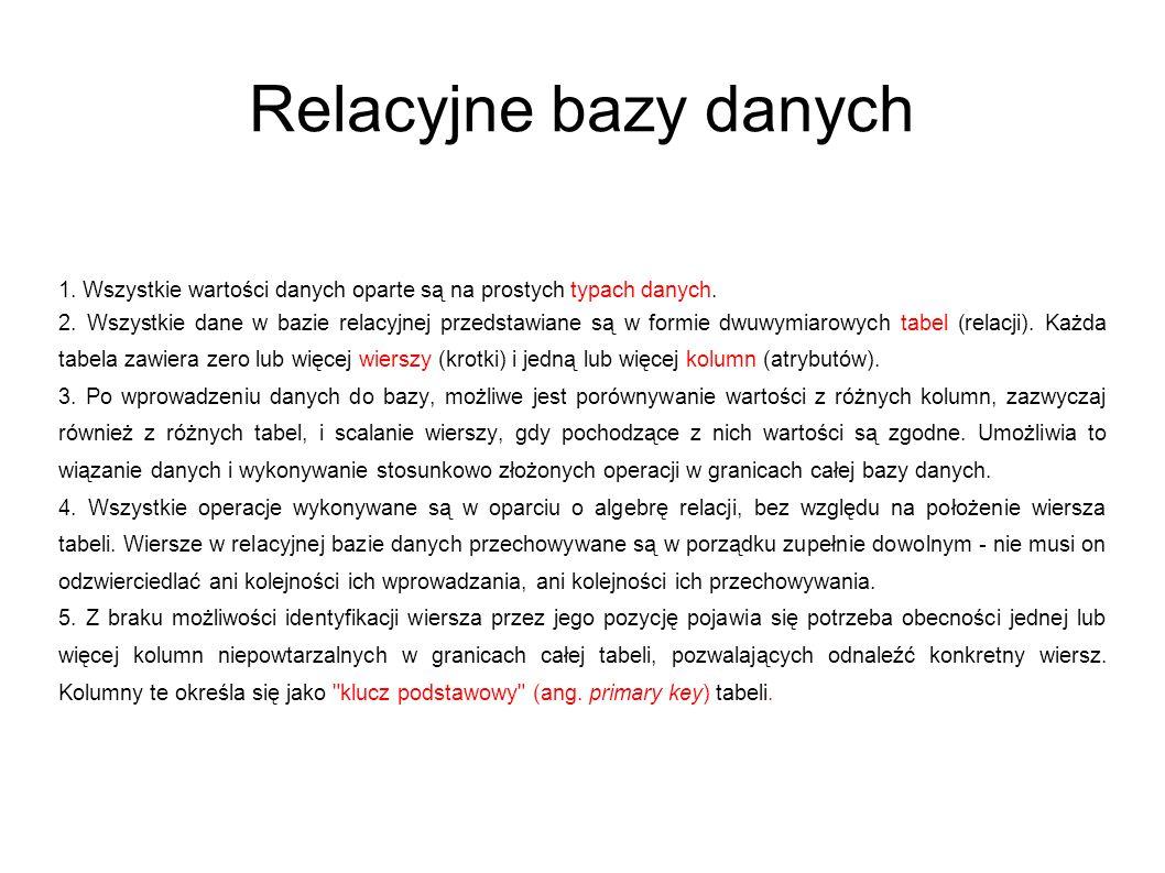 Relacyjne bazy danych 1. Wszystkie wartości danych oparte są na prostych typach danych.