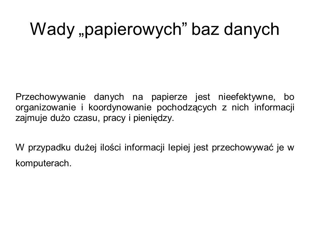 """Wady """"papierowych baz danych"""