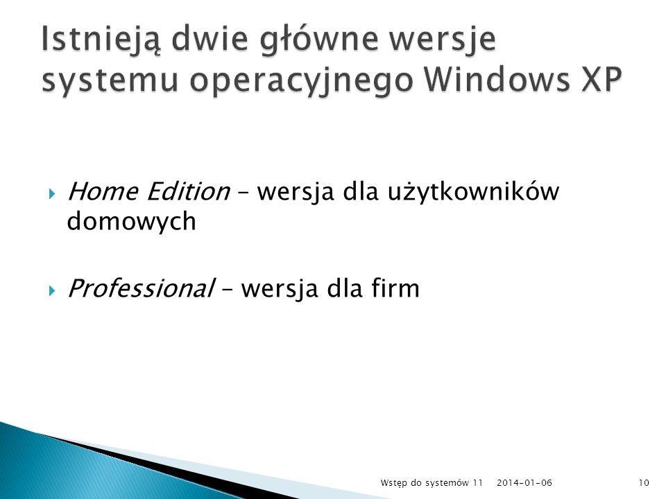 Istnieją dwie główne wersje systemu operacyjnego Windows XP