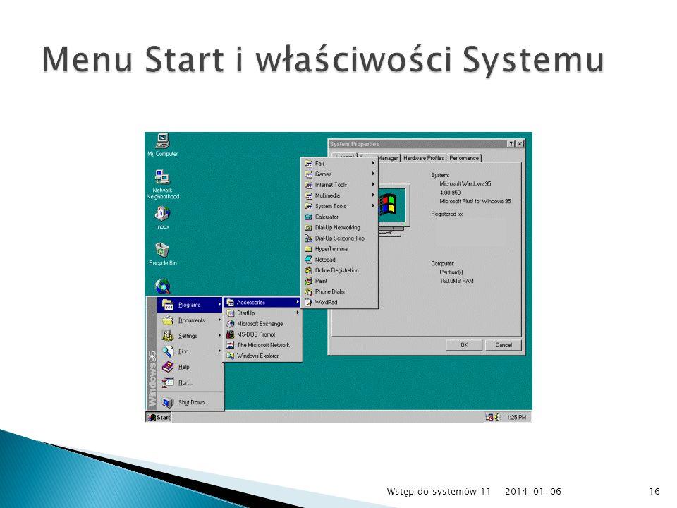 Menu Start i właściwości Systemu